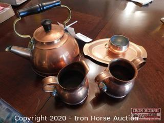 Copper Colored Kettle and Serving Pieces