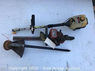 16 inch Ryobi 31cc weed eater and Homelite hedge trimmer HT-17