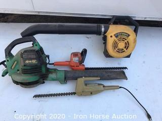 McCulloch gas blower, Weed Eater gas blower, Black & Decker electric hedge trimmer and Garden Mark electric hedge trimmer