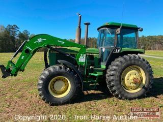 1984 John Deere 4450 Enclosed Cab 4x4 Tractor w/Woods Front End Loader