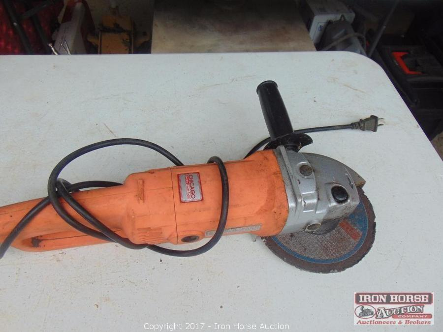 Iron Horse Auction Auction Van Tractor Woodworking Equipment Tools Sheds And More Climax Nc Item Angle Grinder