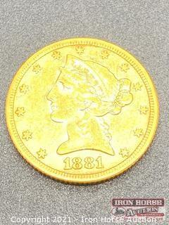 1881 Liberty Head $5.00 Gold Coin