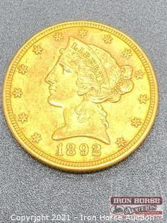 1892 Liberty Head $5.00 Gold Coin