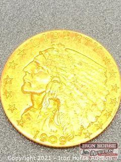 1909 Indian Head $2.50 Gold Coin