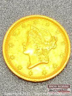 1852 Liberty Head $1.00 Gold Coin