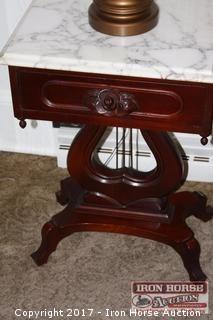 Pair of Lyre Based, Marble Top, Side Tables with Lamps.